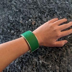 Faux leather green cuff bracelet